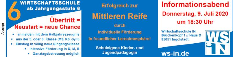 2020: Wirtschaftsschule Ingolstadt Infotag 2020 Im Text